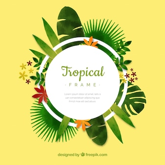 Modern circular tropical leaves frame