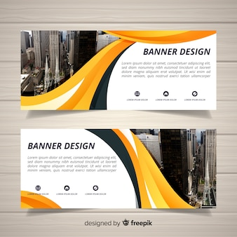 Modern city banners with photo