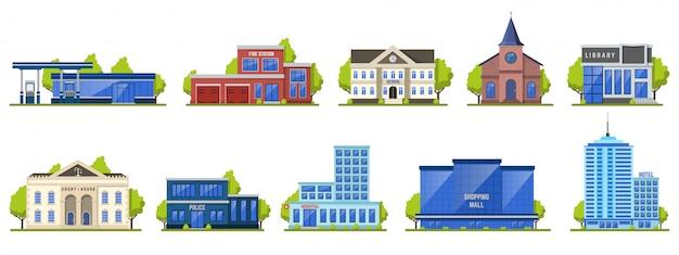 Современное городское строительство. значки иллюстрации общественного современного торгового центра экстерьера, фасада школы, гостиницы и пожарного депо. современная структура города, библиотека муниципальной иллюстрации