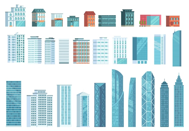 Modern city buildings. city skyscraper building, town houses, business office skyscrapers illustration set.