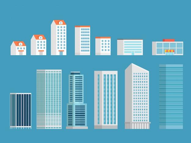 Modern city buildings clipart.