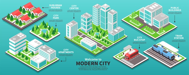 Modern city buildings infographic template