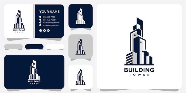 현대 도시 건물, 타워 로고 아이콘 벡터 템플릿. 고층 빌딩 로고. 벡터 로고입니다. 검은 건물