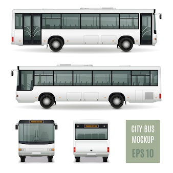 Modern city bus realistic advertising template side view front and rear on white background isolated vector illustration