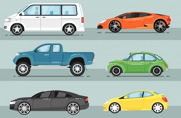 Modern city car isolated set