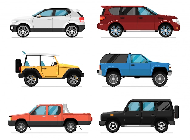 Modern city car isolated vector set