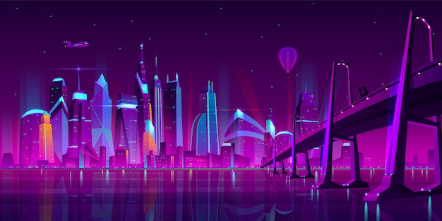 Modern city cartoon vector night landscape.