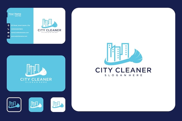 Дизайн логотипа и визитной карточки современного городского очистителя