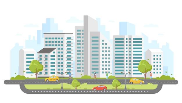 Современный город - красочные плоские векторные иллюстрации в стиле дизайна на белом фоне. большой жилой комплекс с небоскребами, деревьями, на дороге машины и такси, гуляют люди. хорошее место для жизни