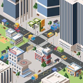 현대 도시 사거리 자세한 아이소 메트릭. 고층 빌딩, 건물 및 차량이있는 메가 폴리스 거리. 도시 풍경. 타운 인프라. 3d 스타일의 지구 장면