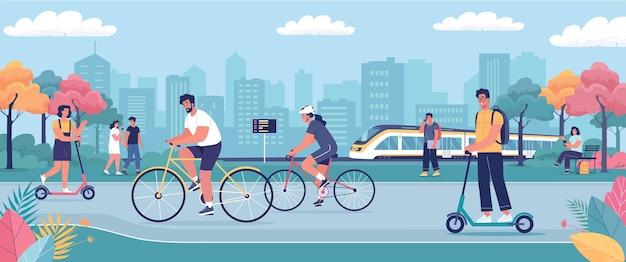 Современный городской экологический общественный транспорт, велосипеды, скутеры, скоростные поезда, векторная иллюстрация