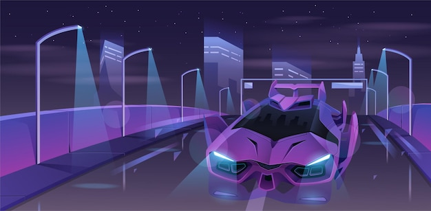 Modern city highway with sport car   illustration