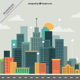 フラットなデザインの背景にある近代的な都市