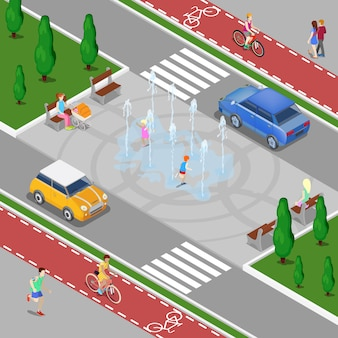 Modern city isometric concept. city fountain with children. bicycle path with riding people. vector illustration