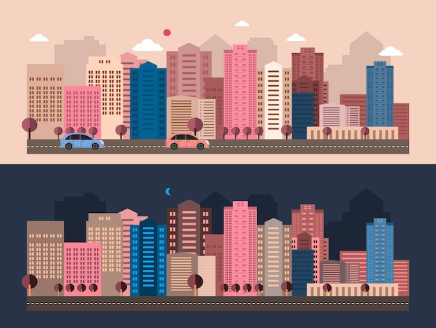 Modern city life scenery in flat design