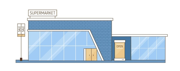 Modern city mall supermarket building vector flat illustration. bright architecture glass and brick exterior isolated on white background. cartoon colorful facade of contemporary retail center.