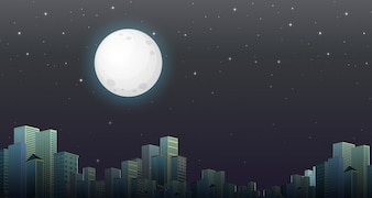 Современная городская ночная сцена