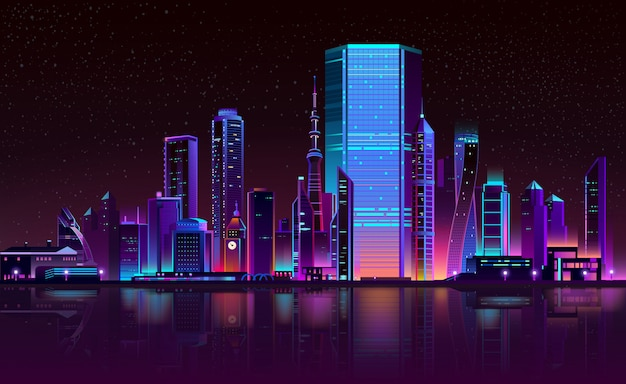 Modern city night skyline neon cartoon