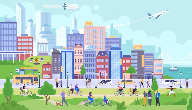 Modern city panorama flat vector illustration. happy citizens cartoon characters. smiling people rest in public park. happy urban life, different activities, leisure. buildings and transportation