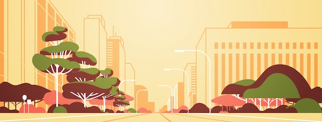 Modern city panorama road with street lamps skyscrapers empty nobody urban cityscape background flat horizontal banner
