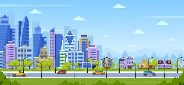 近代的な都市のパノラマ。都市の町の都市景観と郊外の住宅と自然の風景。大都市パノラマビューの図。パノラマビュー都市、都市景観の超高層ビルの家