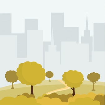 Modern city park cartoon vector illustration. green trees and bushes walkway, buildings cityspace