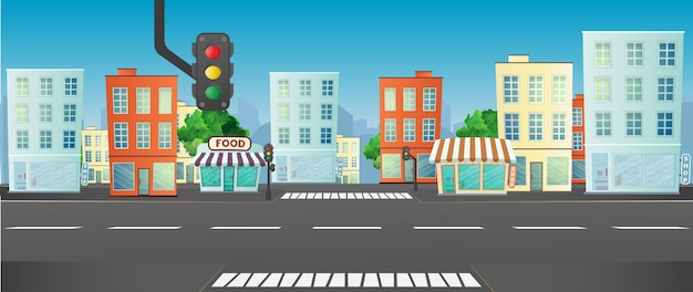 Modern city, public buildings in various architecture styles, city lights and road illustration.