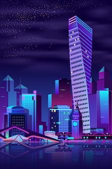 Современная городская набережная ночной пейзаж мультфильм вектор