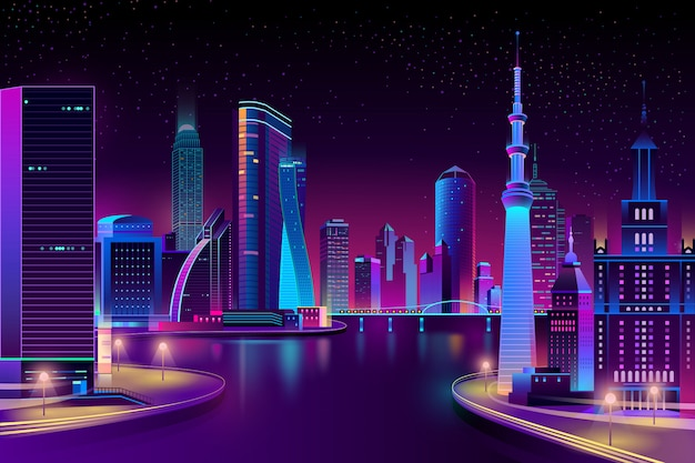 Modern city on river at night.