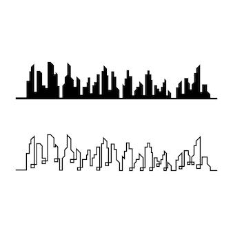 Горизонты современного города. силуэт города. векторная иллюстрация в плоском дизайне