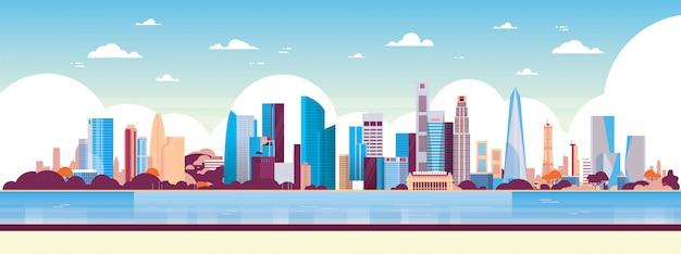 Современный город небоскреб панорама вид городской пейзаж иллюстрация