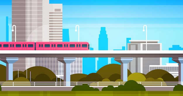 Modern city skyscrapers view cityscape panorama with subway train urban illustration