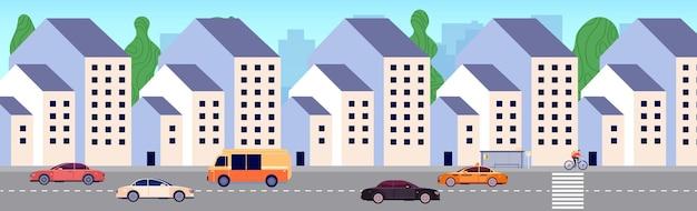 現代の街の通り。市街地、新築エリア。集合住宅、バス停、車。都市化のベクトル図。車の交通量のある街の通りの建物
