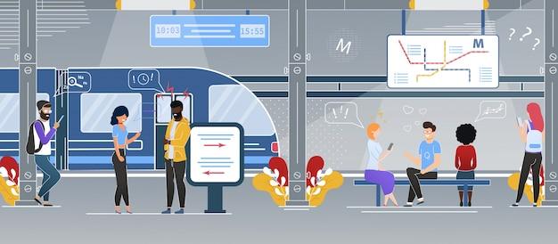 Modern city subway underground station flat