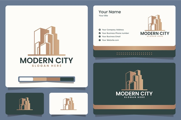 Modern city , technology ,office ,building , logo design and business cards