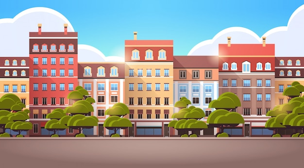 Modern city town street buildings architecture no people urban area cityscape background horizontal  illustration