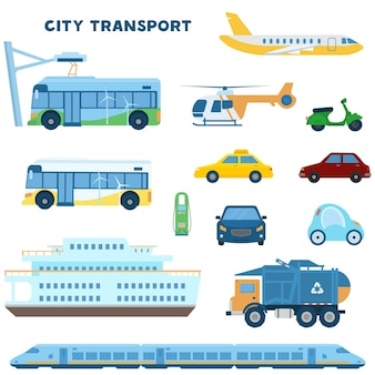 Modern city transport set. electro bus, car, train, trash truck, plain, helicopter, scooter, taxi, cars front, boat, charging station. flat illustration.