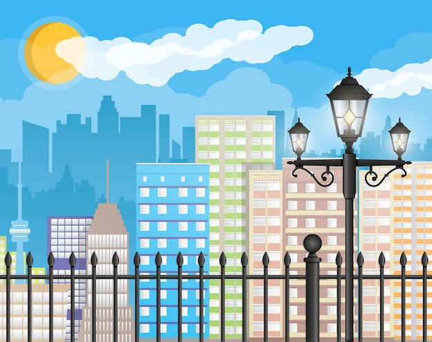 Modern city view. cityscape with fence and lamp