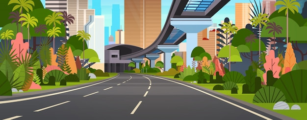 Modern city view horizontal illustration highway road with skyscrapers and railway