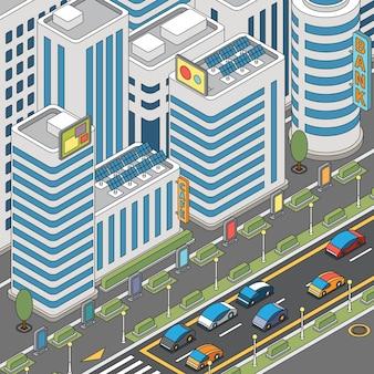 Vista della città moderna con auto in movimento e illustrazione di edifici alti
