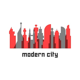 컬러 고층 빌딩이 있는 현대적인 도시. 거대 도시, 관광, 미래 대도시, 풍경의 개념. 흰색 배경에 고립. 플랫 스타일 트렌드 현대 로고 타입 디자인 벡터 일러스트 레이션