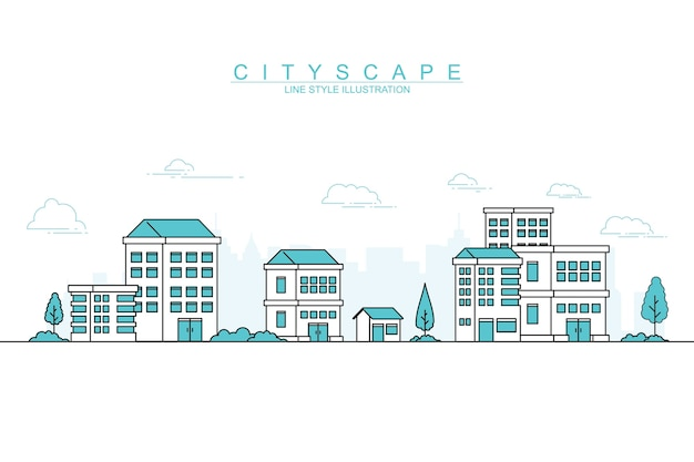 Modern city with line design style illustration