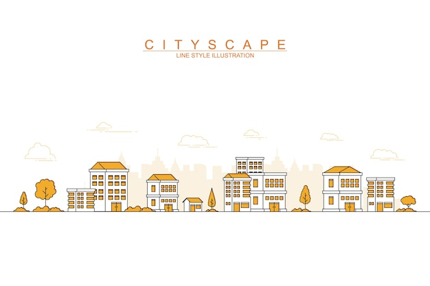 Modern city with thin line design style illustration
