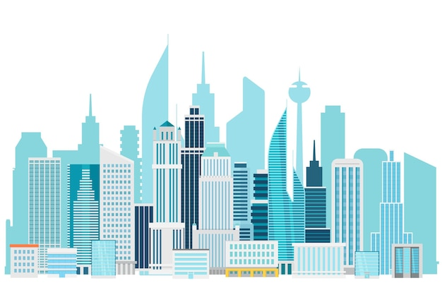Modern cityscape downtown illustration. office buildings of a city