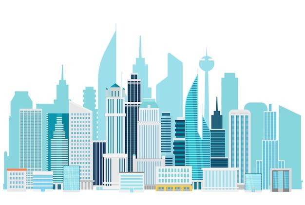현대 도시 풍경 시내 그림입니다. 도시의 사무실 건물