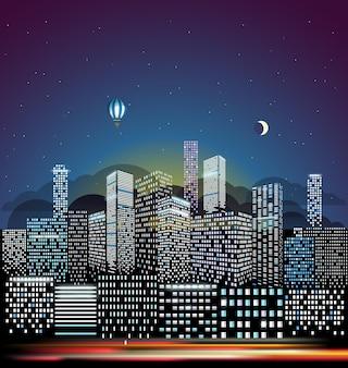 아침 그림에서 현대 도시 풍경입니다. 도시 건물 관점