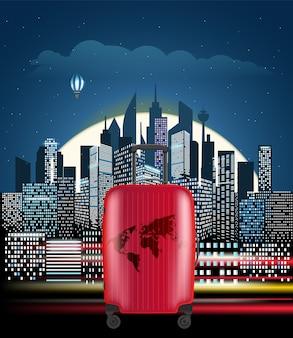 ハンドバッグで夜のモダンな街並み。都市の建物の視点