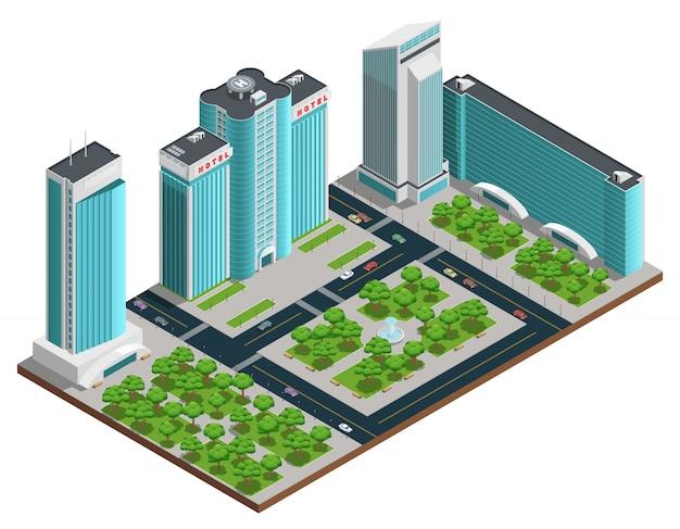 많은 층 건물과 녹색 공원이있는 현대 도시 아이소 메트릭 구성