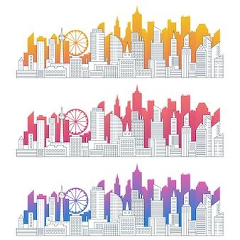 モダンな街並みのアウトラインカラーグラデーションシルエットセット