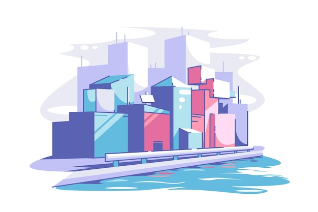 Modern cityscape view vector illustration tall buildings and river flat style urban landscape futuristic daytime modern city and downtown concept isolated